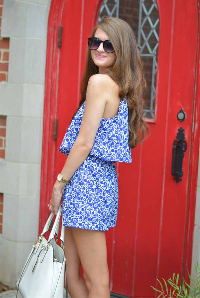 Blue and white romper from Forever 21