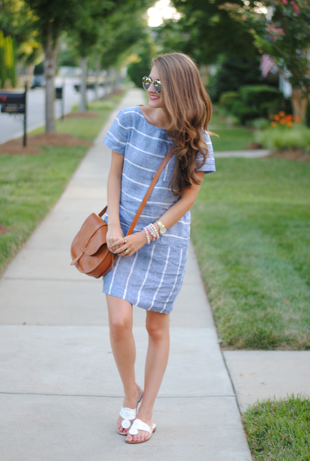 Striped chambray dress from the Loft
