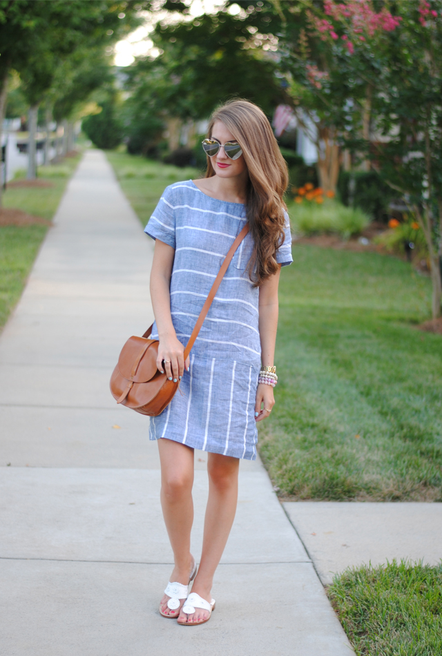 This striped chambray dress is perfect for summer. From the Loft!