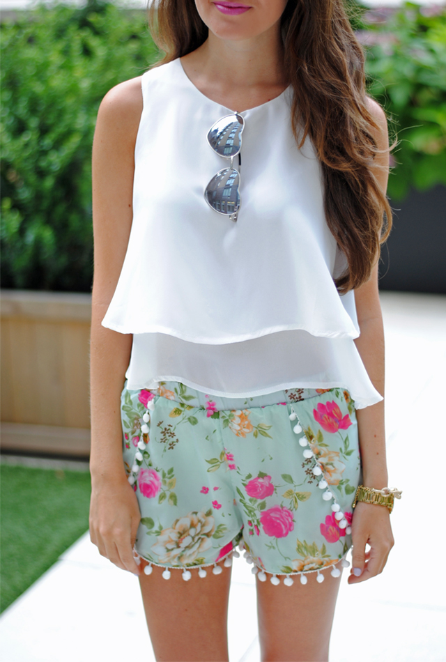 Love this outfit for summer! Heart sunnies, white layer tank & pom pom shorts