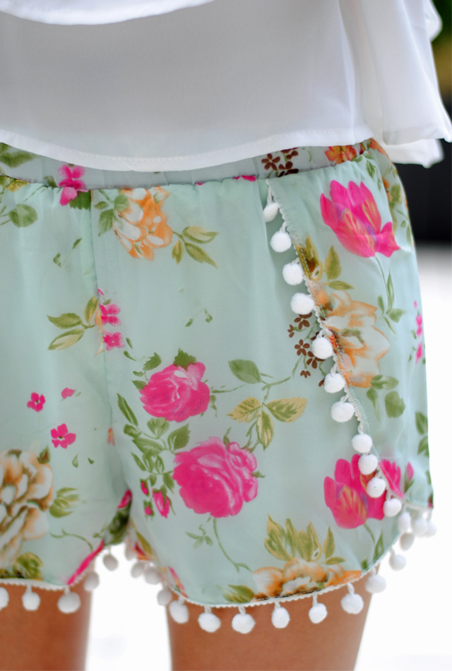Love these floral pom pom shorts