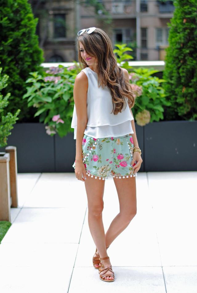 Pom pom shorts with a flowy white top