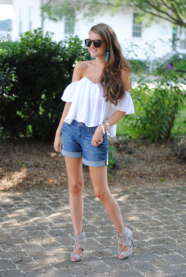 White crop top paired with denim shorts - love!