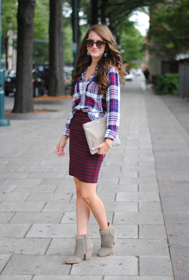Pattern mixing… plaid and stripes, a must-try for fall