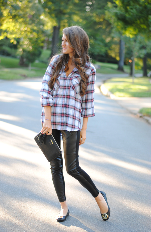 Flannel shirt, leather leggings and flats for fall