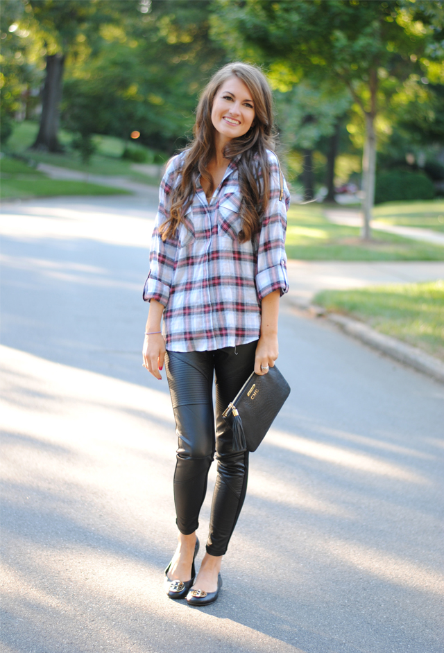Plaid shirt paired with leather leggings