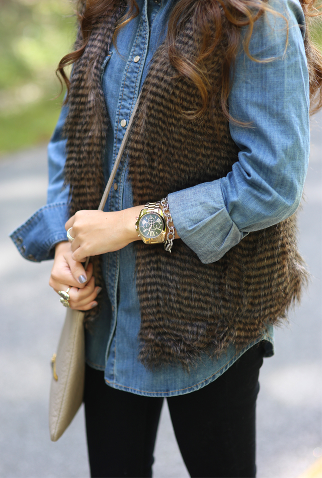 Pair a fur vest with a chambray button-up
