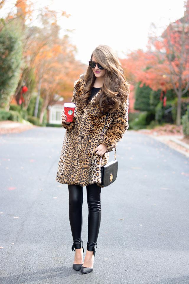 Leopard faux fur coat..