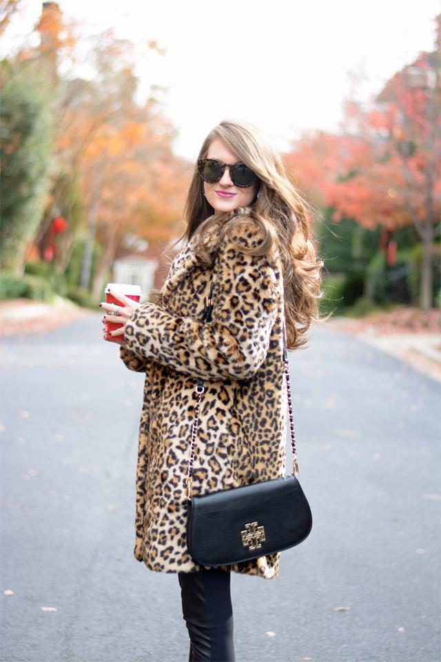 Leopard coat + Tory Burch bag