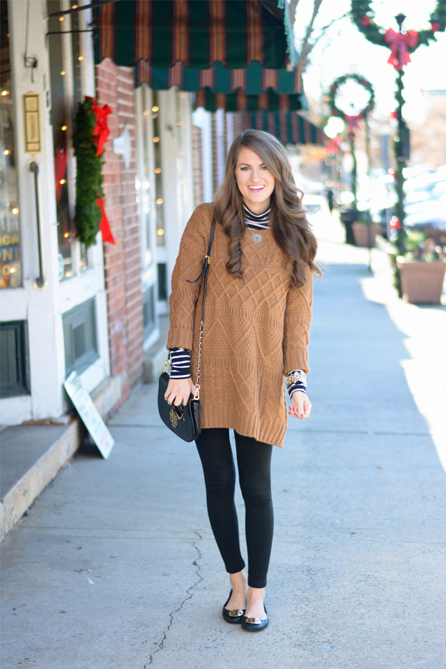Brown Sweater Dress with Leggings