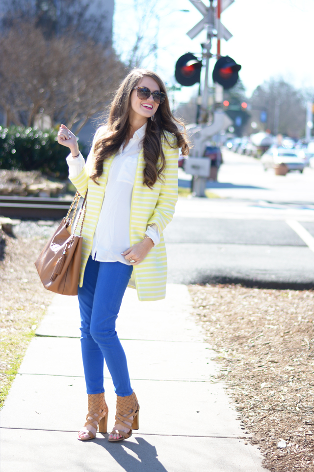 Neon striped topper and cobalt blue pants… love!