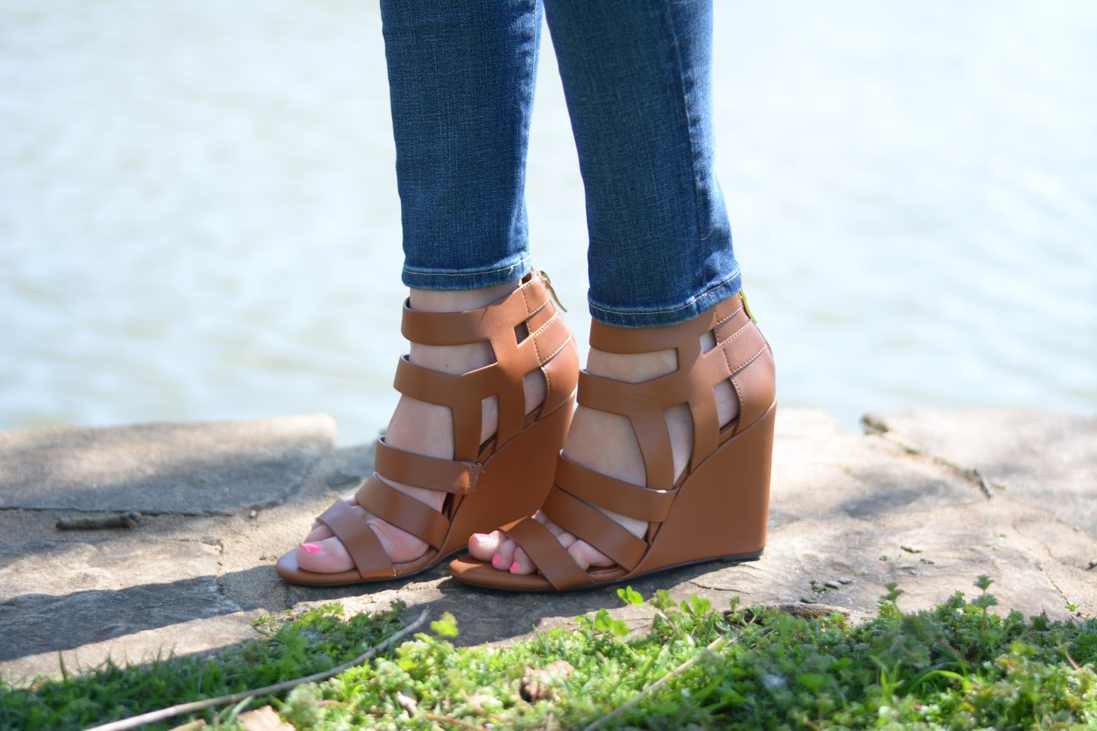 Leather cut-out wedges