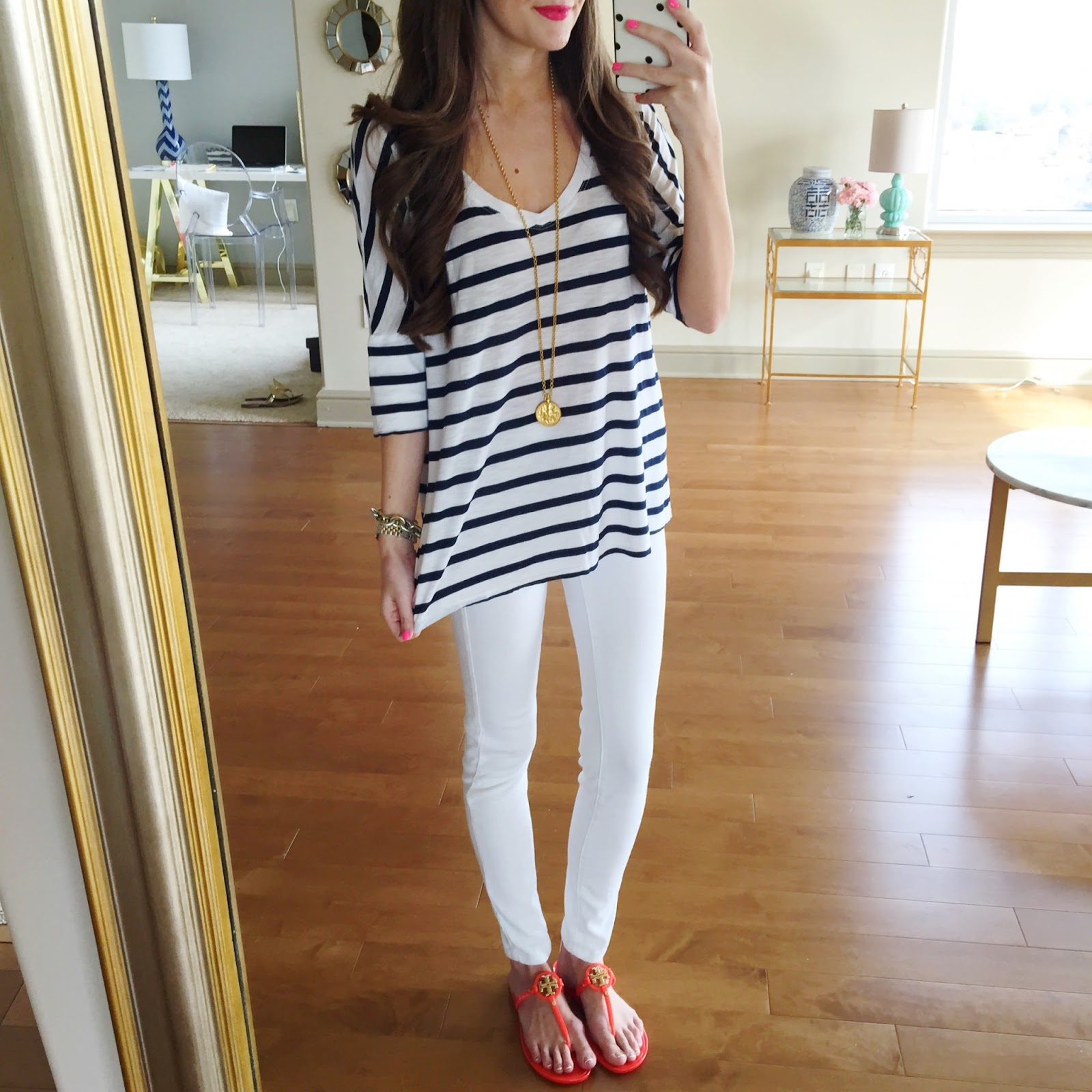 Striped shirt with white skinny jeans and fun sandals
