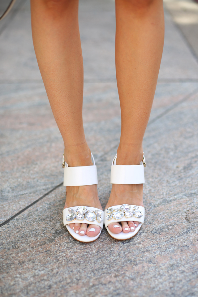 embellished white sandals