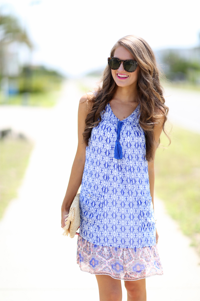 Love this printed trapeze dress