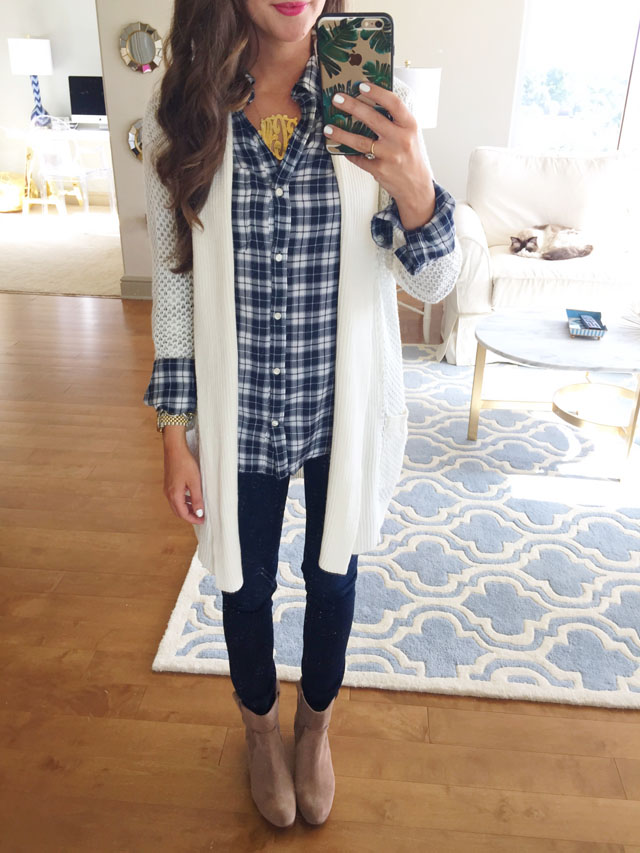 Nordstrom Anniversary sale plaid shirt with open cardigan