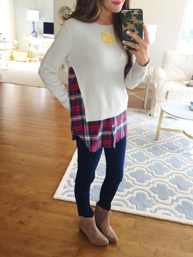 Nordstrom Anniversary Sale layered shirttail sweater