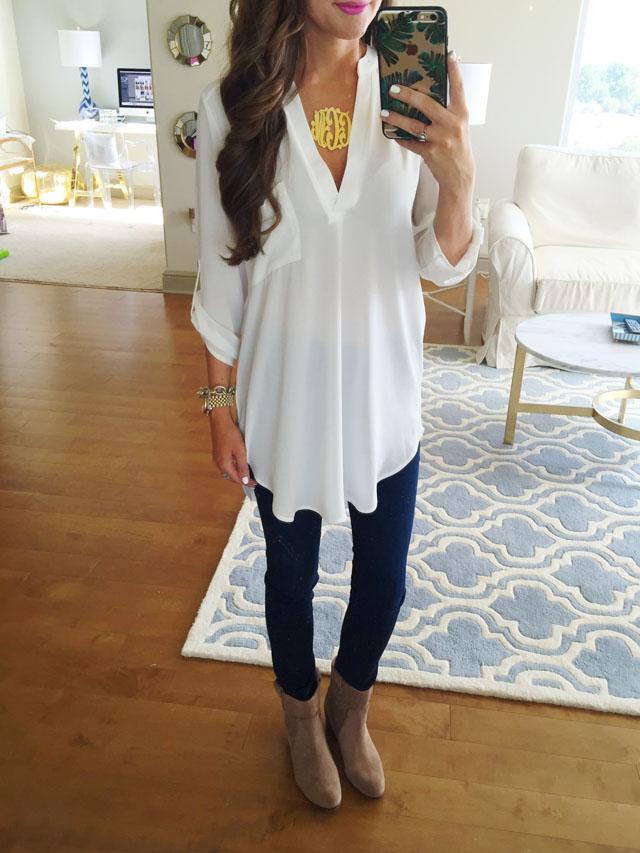 white V-neck blouse for layering