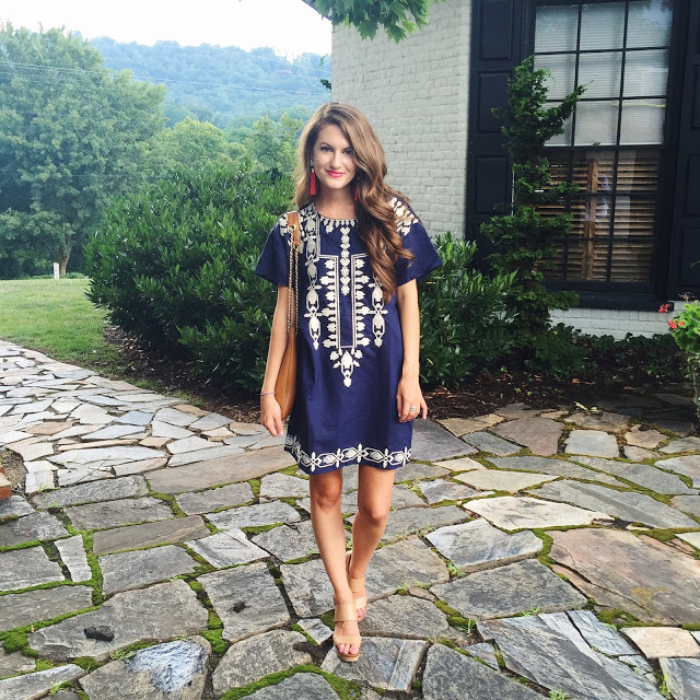 Navy embroidered dress
