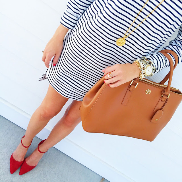 Striped dress + red heels