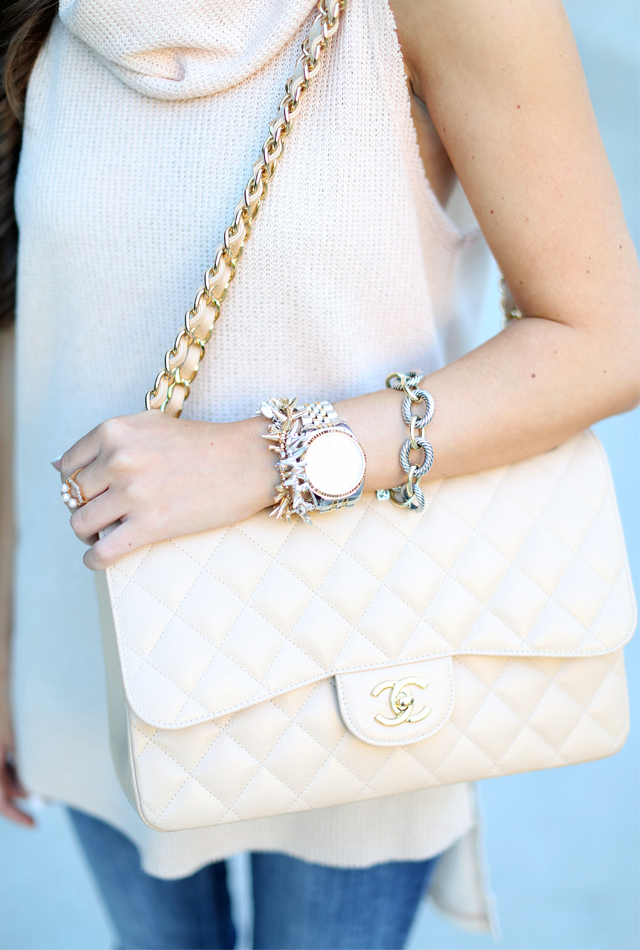 Chanel jumbo light beige