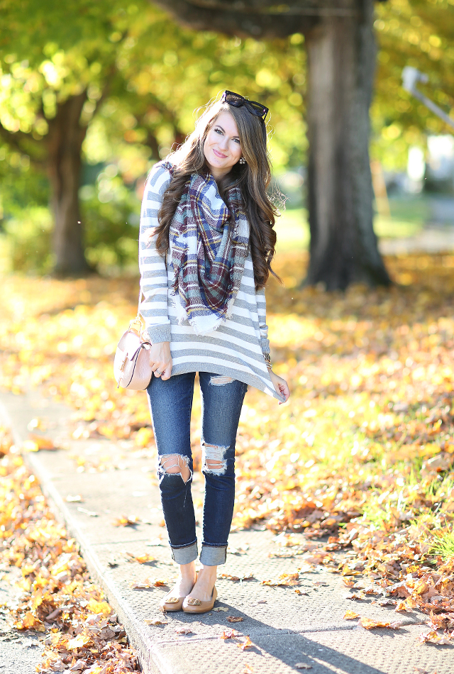 Fall blanket scarf outfit