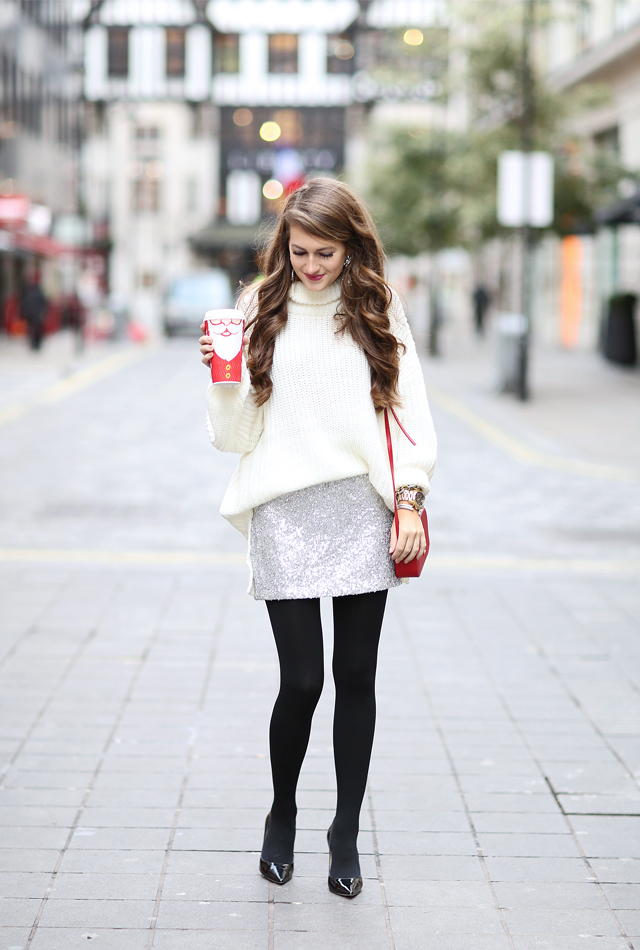 Holiday party outfit idea with sequin skirt