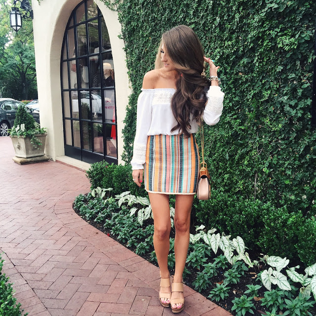 striped skirt, white off shoulder top