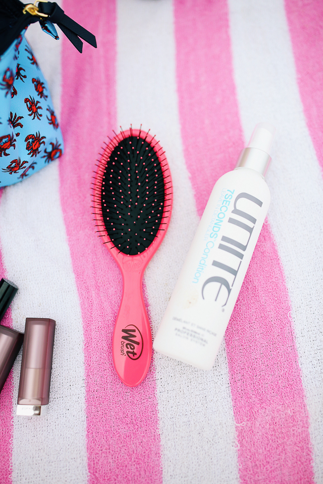 hair products to bring with you to the beach - this wet brush gets out all of the tangles while your hair is wet!
