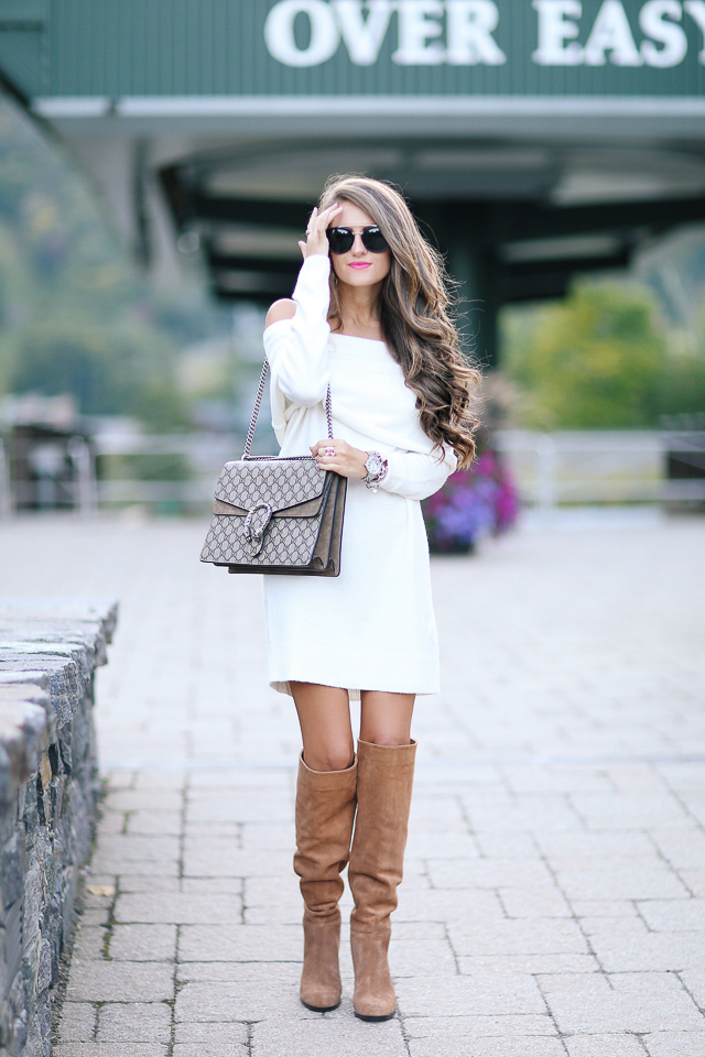 Off Shoulder Sweater Dress Southern Curls Pearls