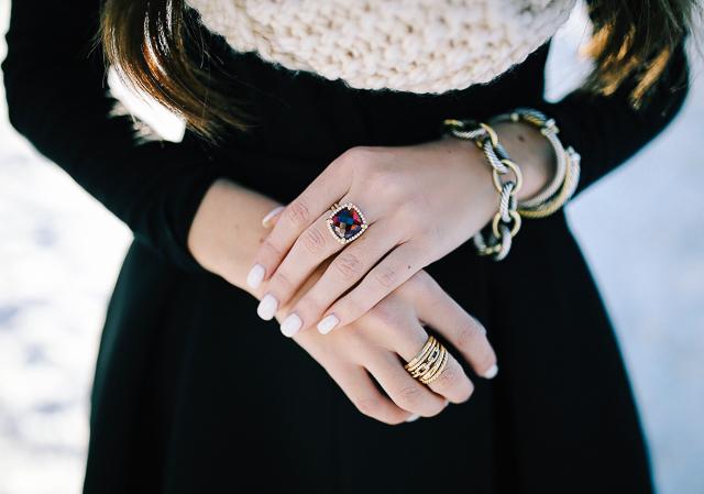 David Yurman Claine Pave Bezel Ring With Garnet Stax Wide Diamonds