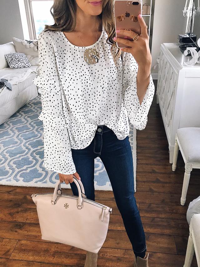 Lush ruffle bell sleeve blouse